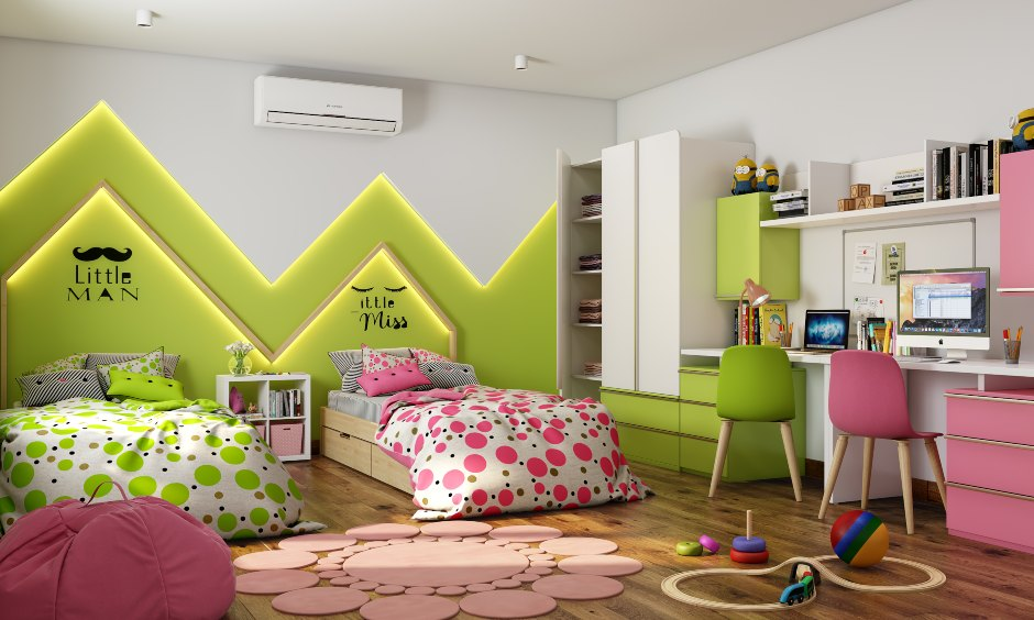 A kids bedroom for a boy and a girl look with a fun