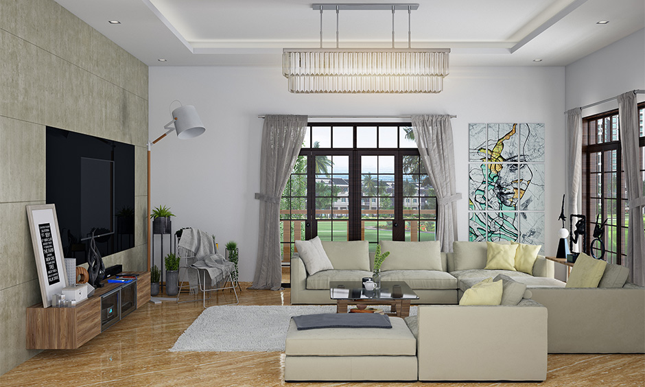 Large living room interior Indian design style with cosy seating is one of the ways to ensure retains its desi touch.