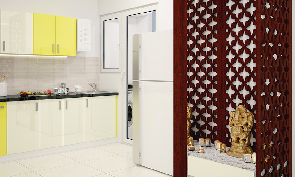A beautiful pooja room in Indian interior design style adds a sense of serenity to your home.