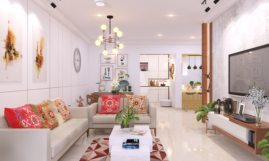 Indian traditional interior design, the white living room has different elements with beautiful bold colours.