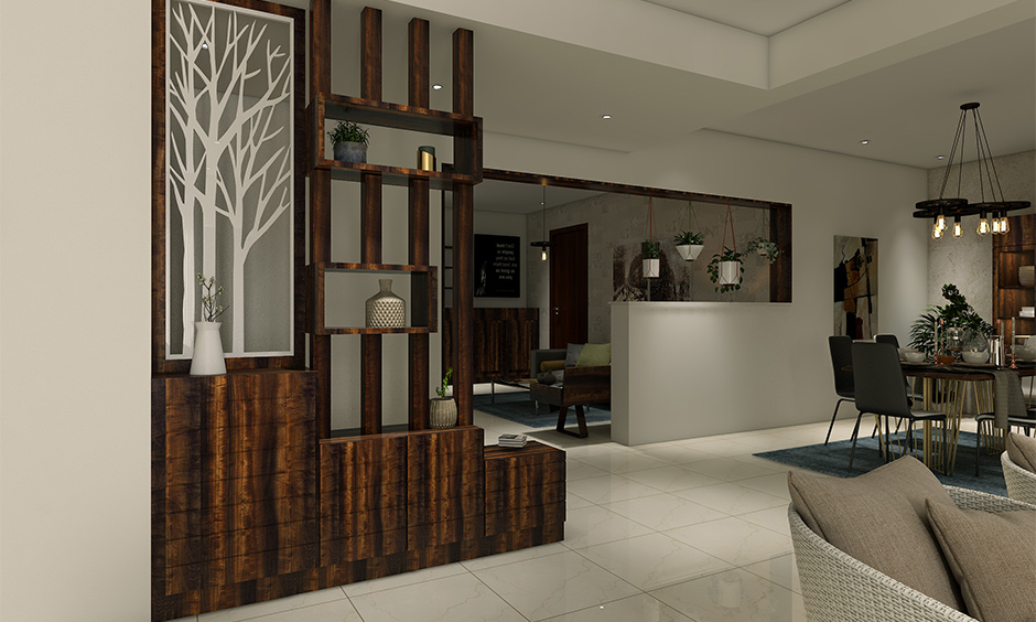 Intricately carved and designed in wooden in the foyer area is Indian interior design ideas to bring charm.