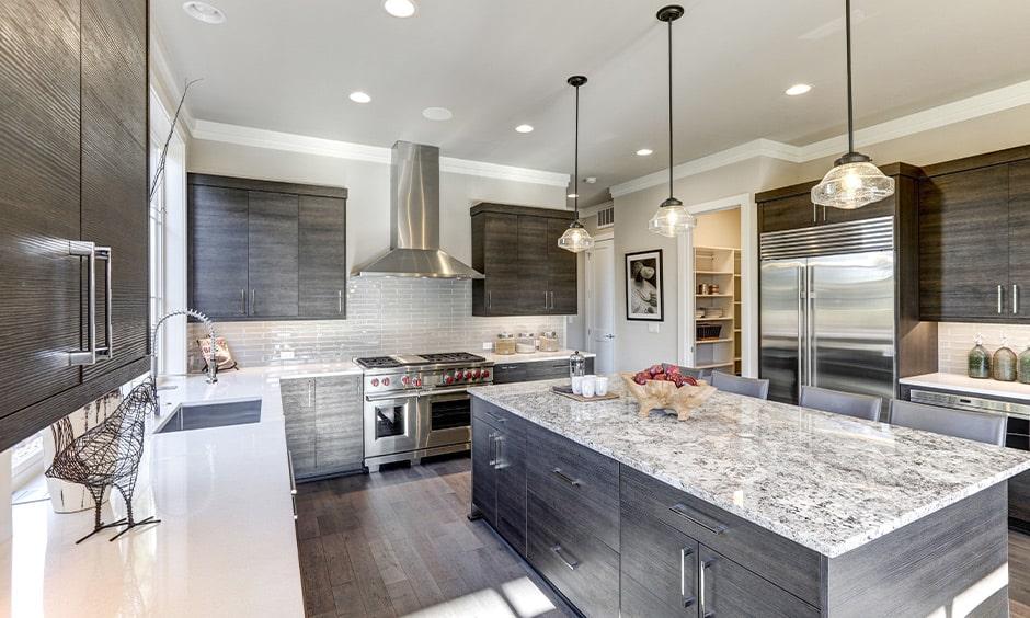 Grey granite countertop for kitchen island