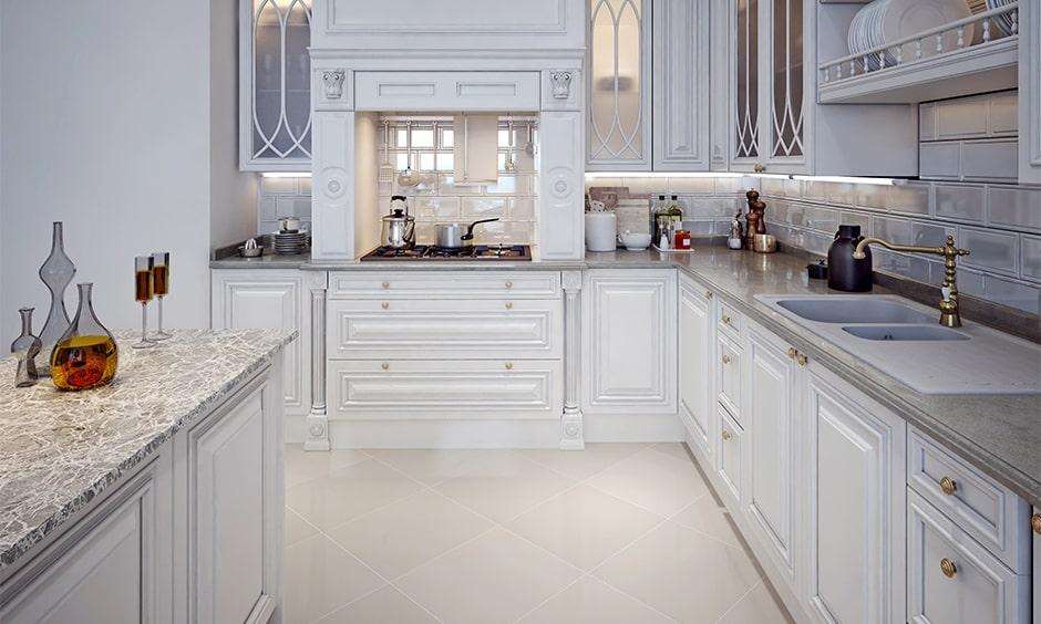 Grey granite countertop for white kitchen