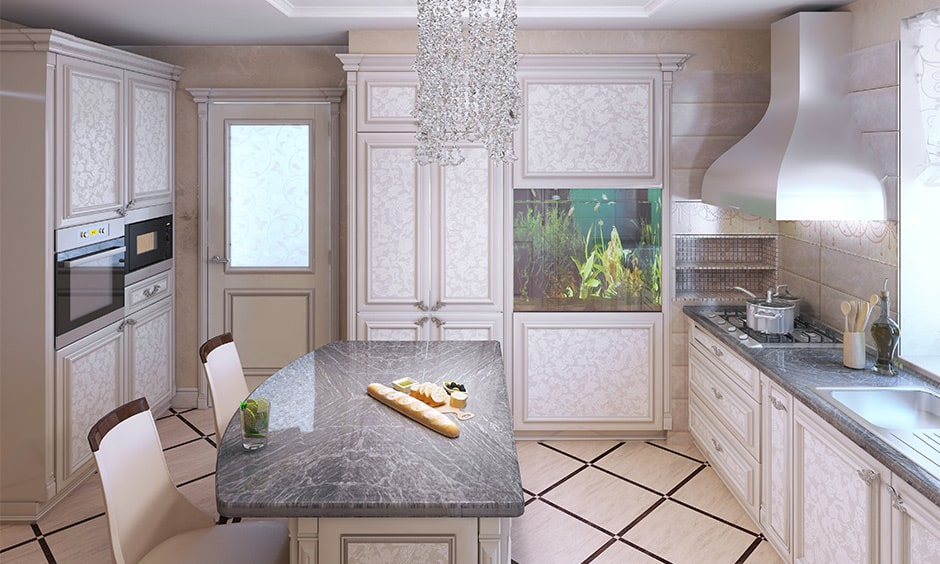 Patterned grey granite countertop for your kitchen island
