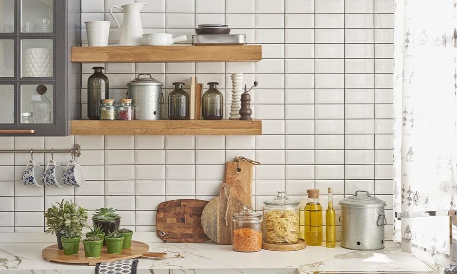 Kitchen spice rack design with floating wooden shelf