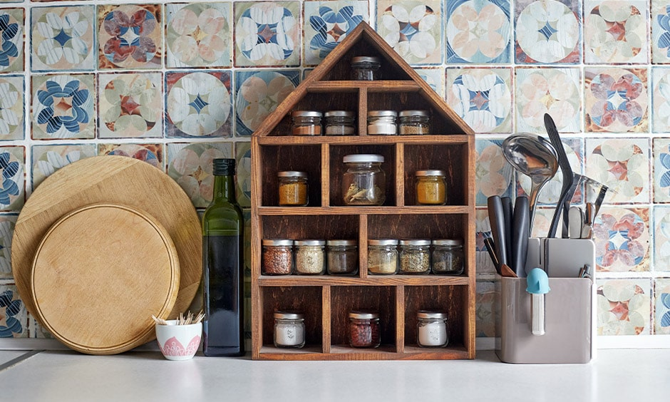 Rustic wooden kitchen spice rack is the perfect accessory to your spice bottles and jars