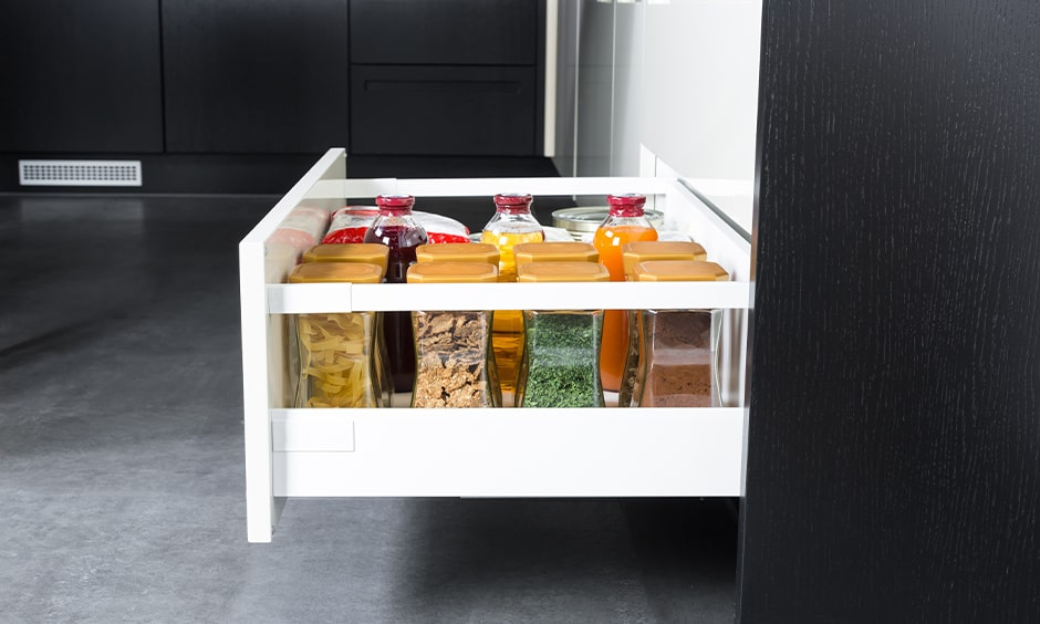 Spice rack in modular kitchen to keep your jars and bottles perfectly organized