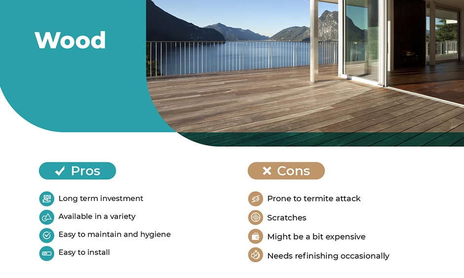Natural wood material for balcony flooring