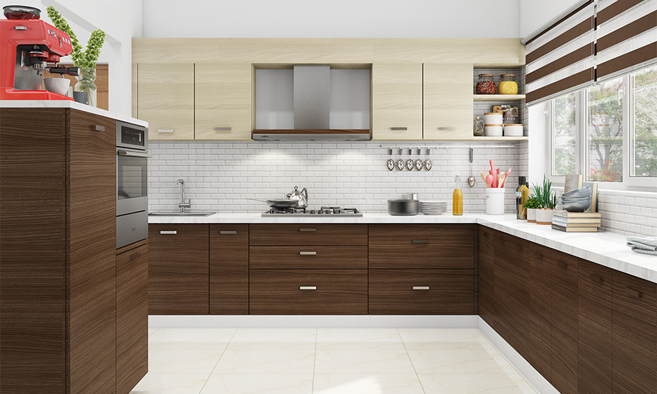 Contemporary kitchen cabinets with white brick backsplash works perfectly for the subtle kitchen