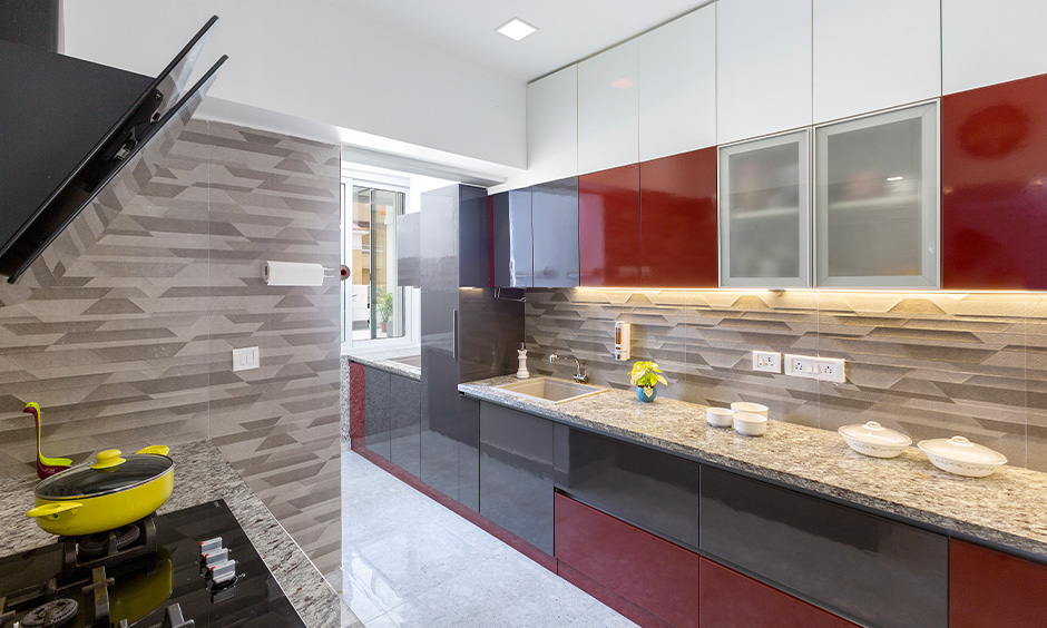 Glossy contemporary european kitchen cabinets with neutral grey and white kitchen cabinets