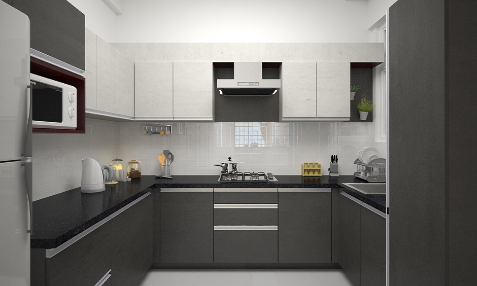 Contemporary oak kitchen cabinets with a modern pull style and stylish look