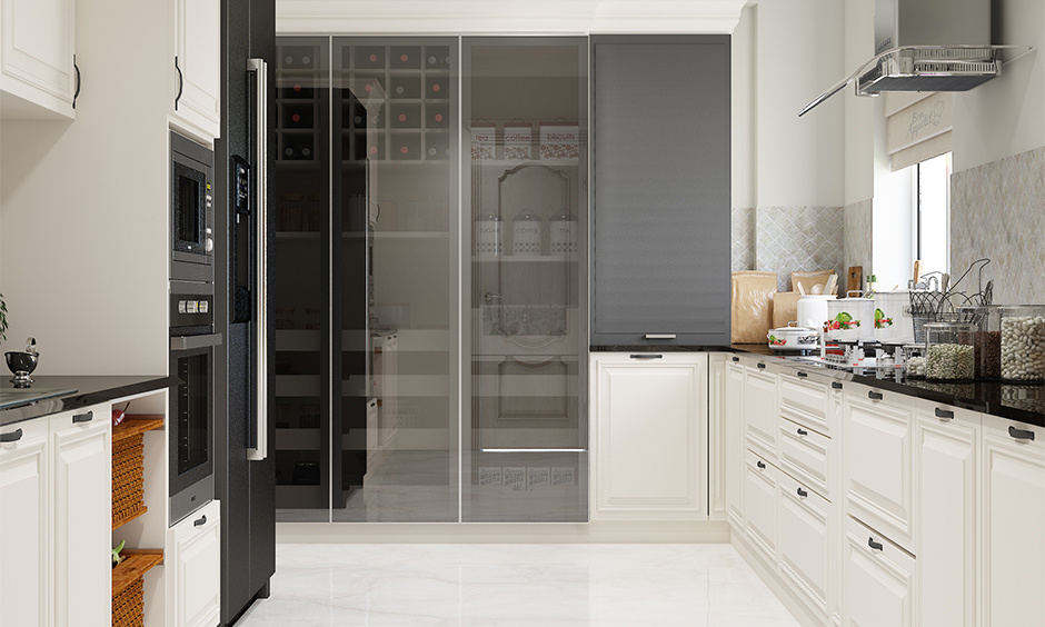 Large contemporary kitchen cabinets stylish glass doors give it a distinct appeal