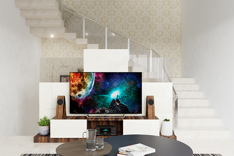 Decorated staircase with an artistic backdrop wallpaper looks beautiful is how to decorate a staircase wall.