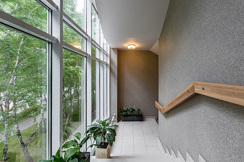 Pair with the finish of charcoalish walls, subtle lights and planters is a minimalistic enclosed staircase decorating ideas.
