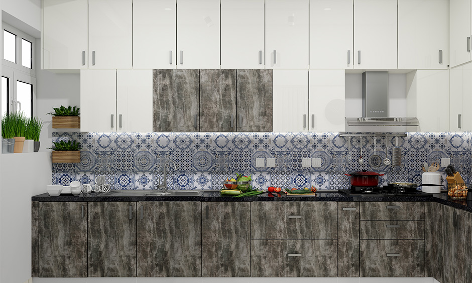 Moroccan kitchen tiles work as a beautiful backsplash for this spacious kitchen and come in unlimited colours.
