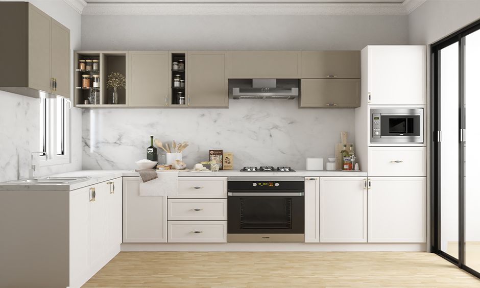 Vintage modern wooden modular kitchen with subtle hues and smooth finishes