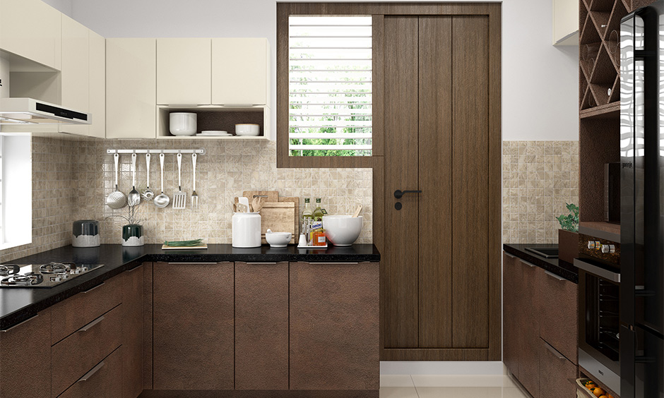 Textured wooden kitchen modular where design is classic and never fails to get attention