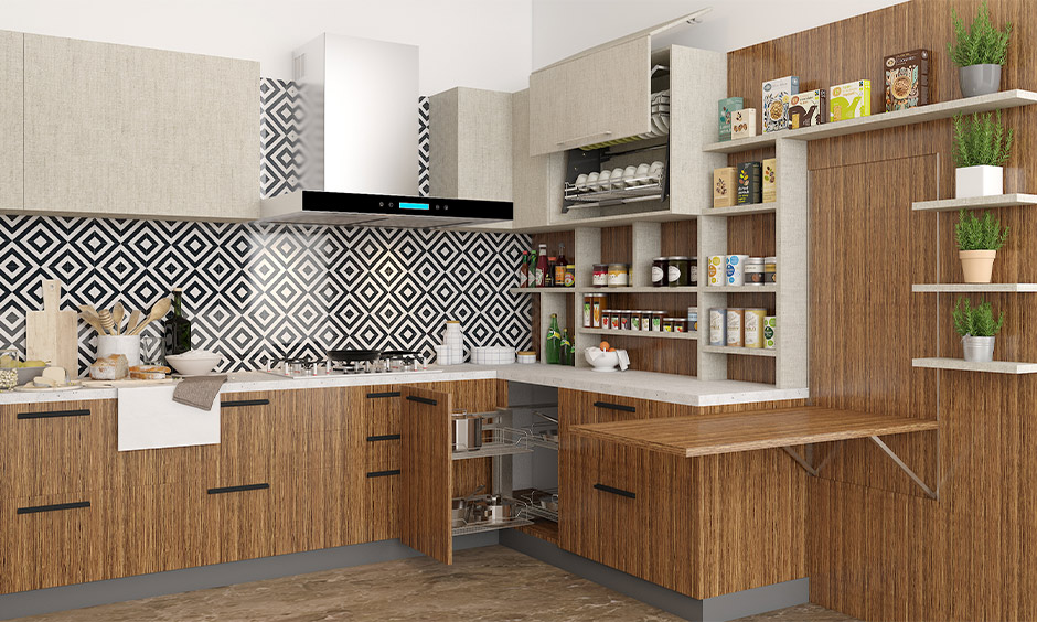 Geometric black dark backsplash ideas which gives your kitchen a distinct personality