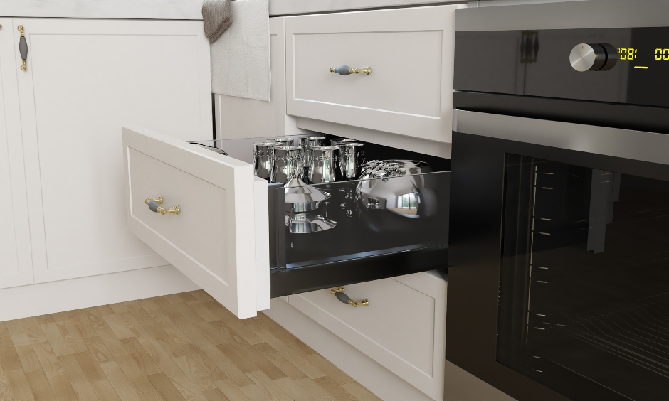 Customised kitchen silverware drawers conveniently placed and easy to access is kitchen drawer design ideas.