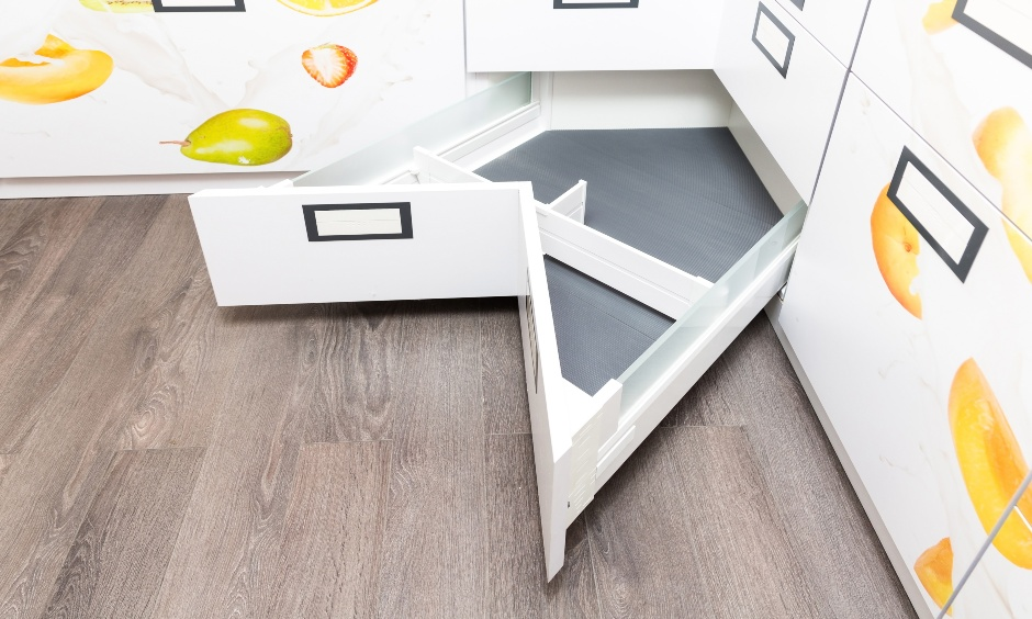 Smart corner drawers kitchen help you create space to fit in sharp or delicate objects that are easily accessible.