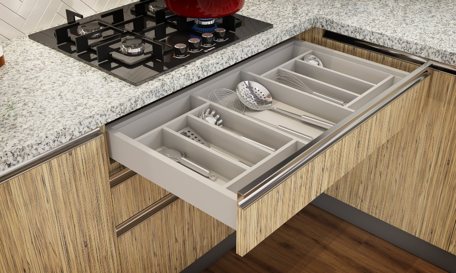 Kitchen drawer design that all those countless utensils systematically placed in the drawer.
