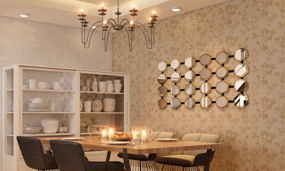 The dining room has a chandelier home ceiling light that blends well with the decor of the dining room.
