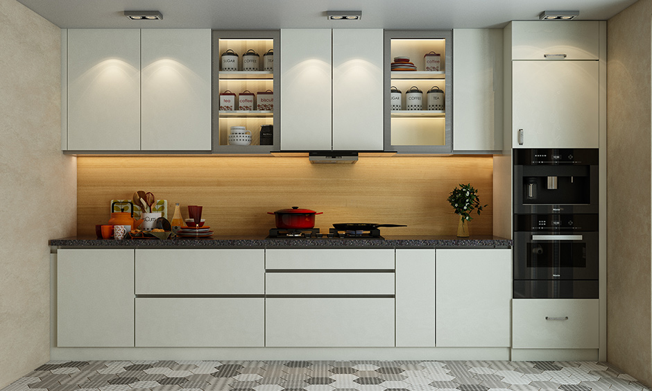 Kitchen has cabinet and ceiling lighting perfect balance of lighting in every nook and corner is the best lights for home.