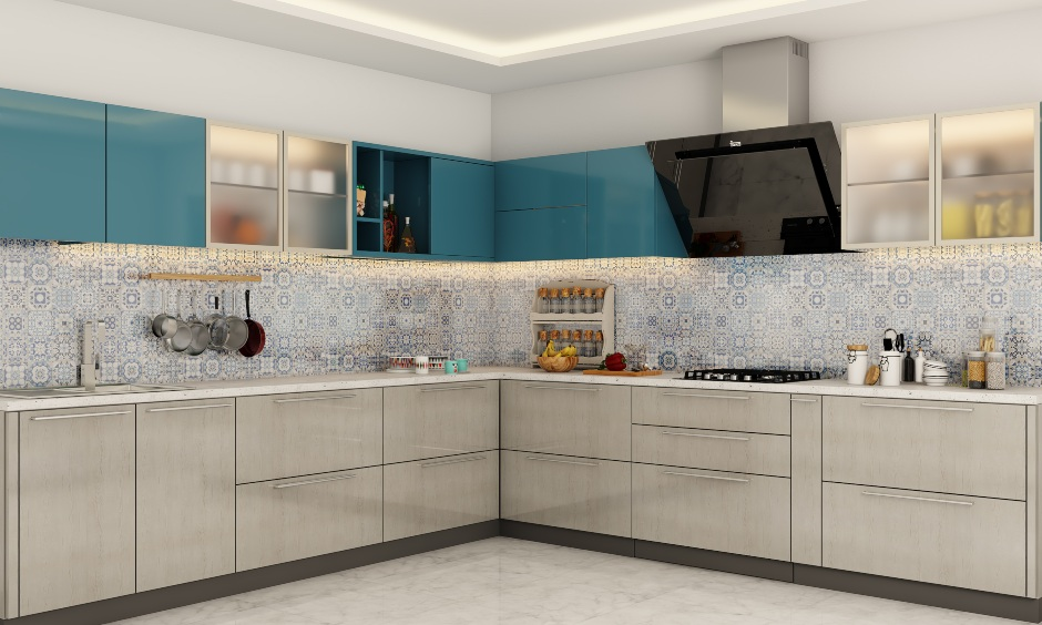 Modular kitchen design in l shaped layout for modern indian kitchens