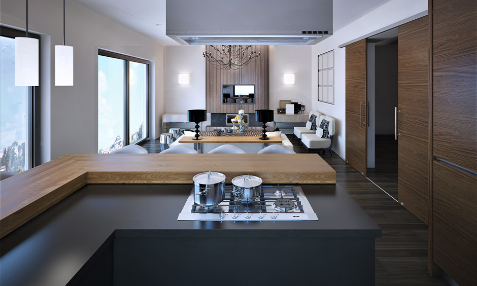 Grey laminate kitchen countertops in l-shaped adds some character to the open kitchen space.