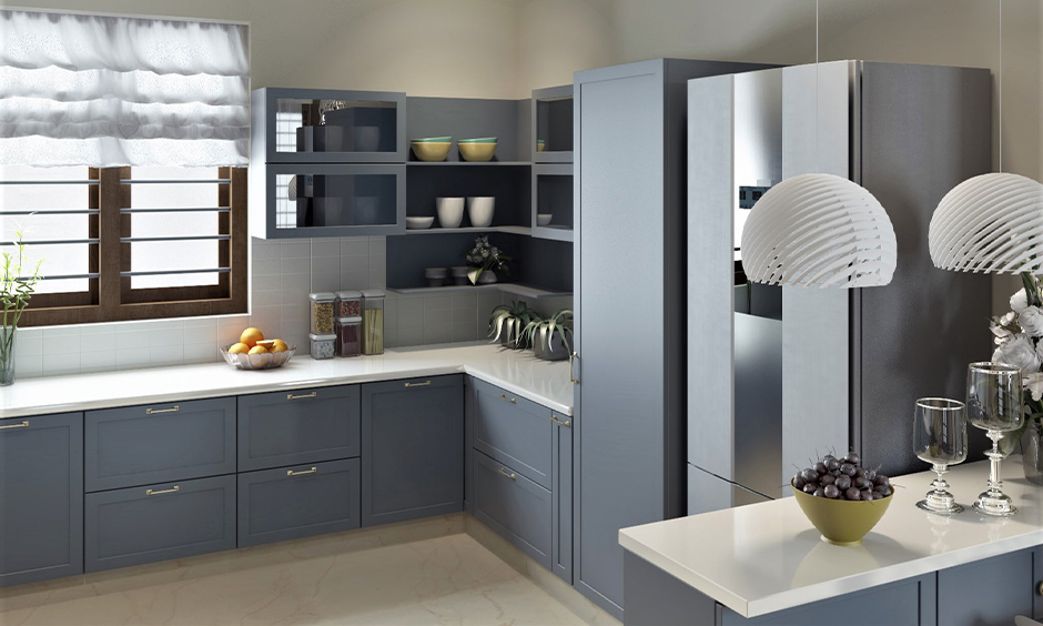 Kitchen with white countertops laminate and light grey cabinets adds a relaxing and spacious feel to the room.