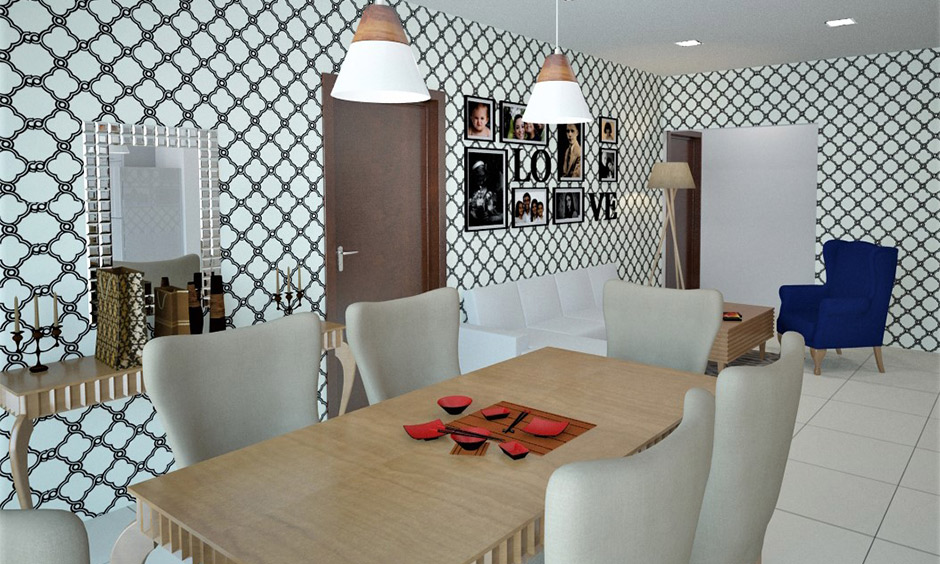 Moroccon geometric wall paint elegantly envelopes the dining room area and gives it a classic and majestic feel.