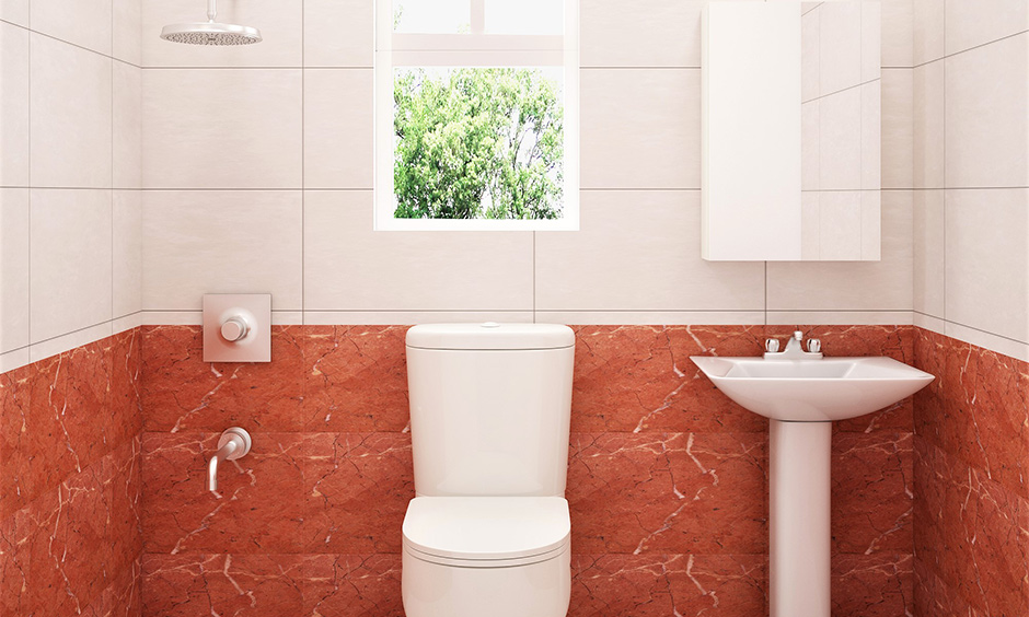 Small bathroom in rusty-brown and white wall tiles with mirrored cabinet storage look elegant little girl bathroom ideas.