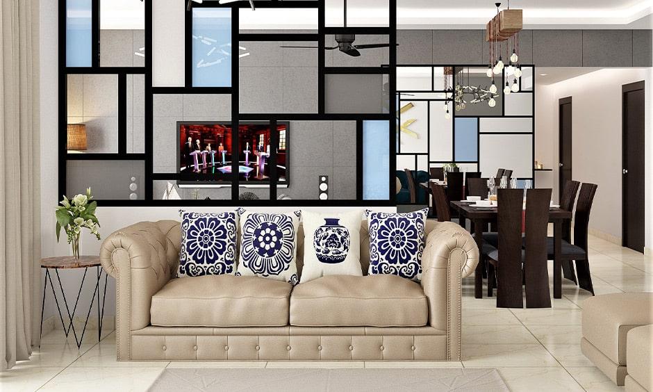 Designer glass partition for your living room