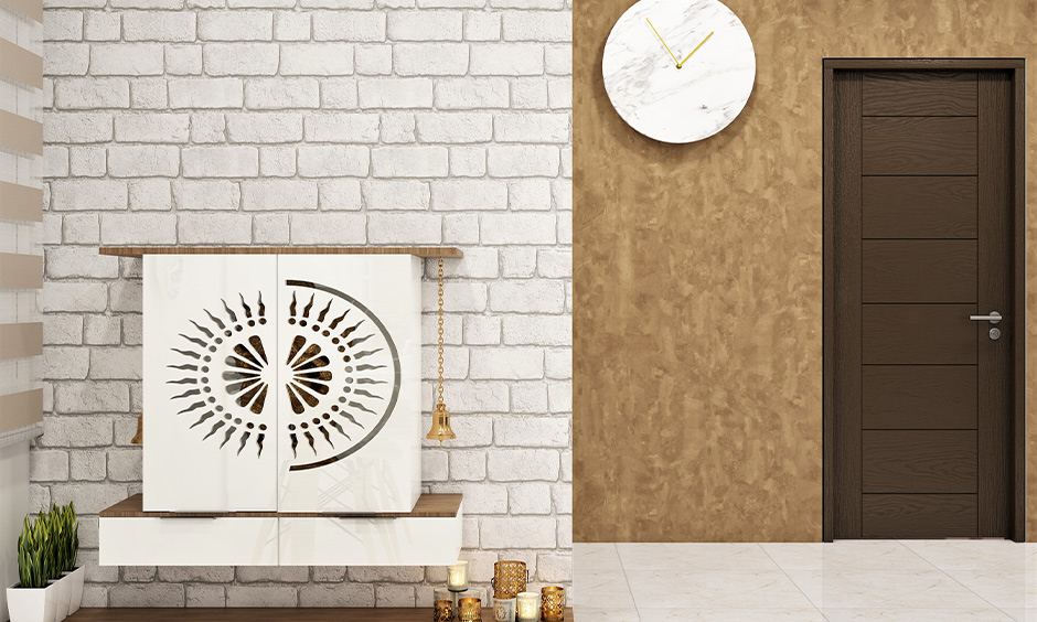 Brown and white matte material finish wall that reflects scattered light in the space look rustic in appeal.