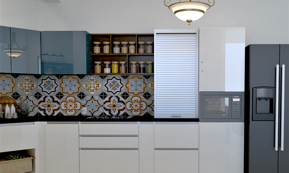 Blue wall cabinets Pvc kitchen design with lower white cabinets are sleek and reflective.