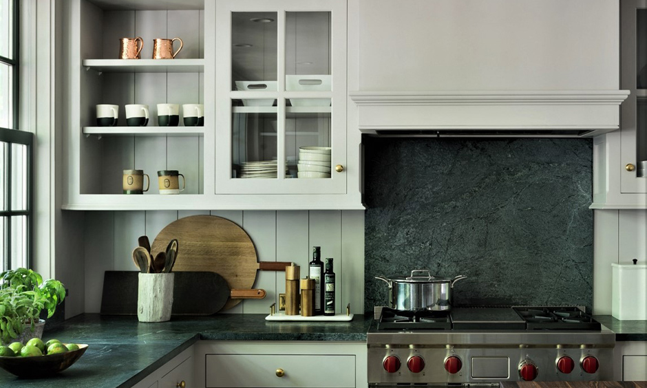 Pictures of green soapstone countertop which reminds you of the earth's natural green elements