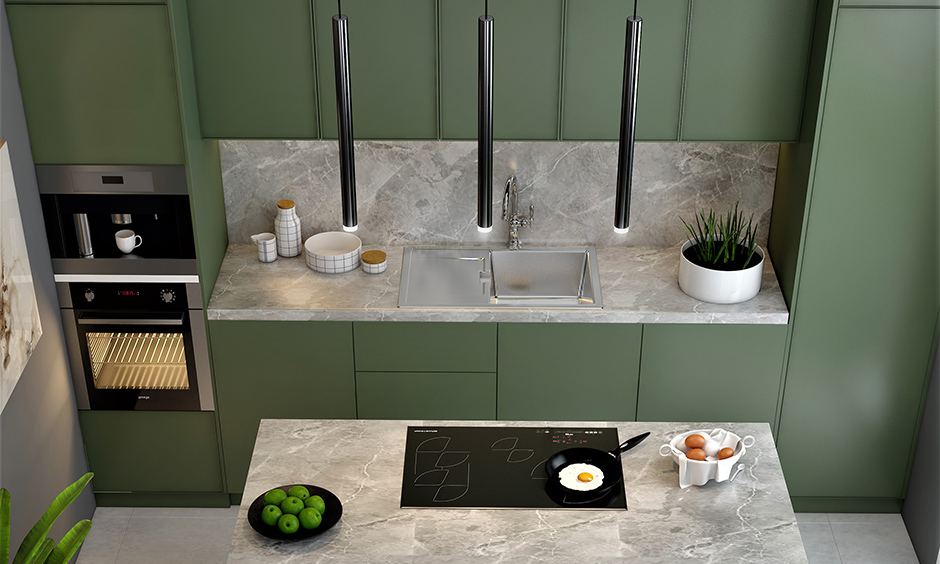 Light grey soapstone countertops pros and cons gracefully enveloped between the off-white flooring and the olive green cabinets