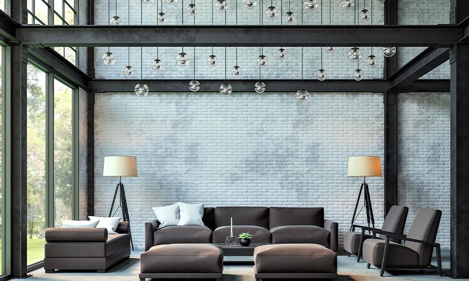Industrial scandinavian interior design india which is quite opulent with its black steel beam framework