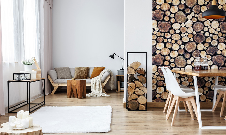 Traditional living room scandinavian interior design with tree stump accessories and the wood-texture wallpaper