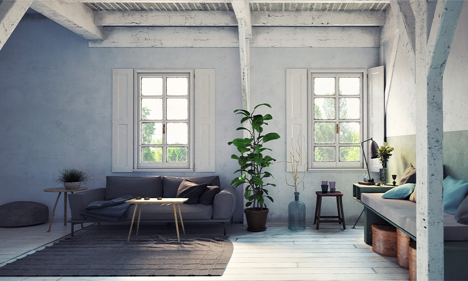 Farmhouse modern scandinavian interior design which is beautifully livable with its white aged-looking pillars