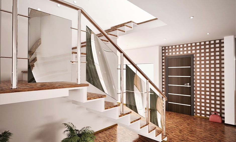 Stainless steel railing staircase design with mirror panels