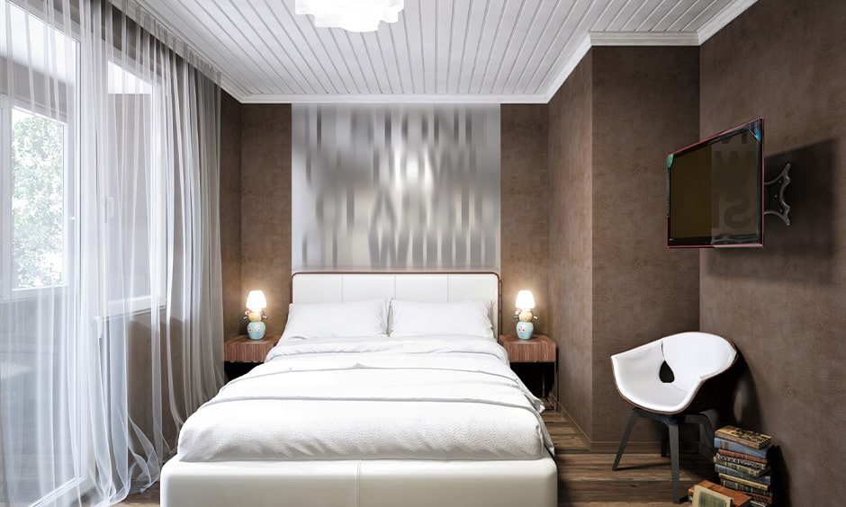 Wall colour combination for small bedroom with dark-brown