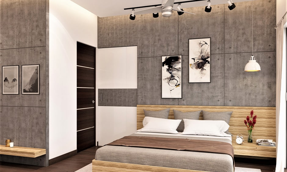 Grey and white are the best wall colour combination for indian small bedrooms