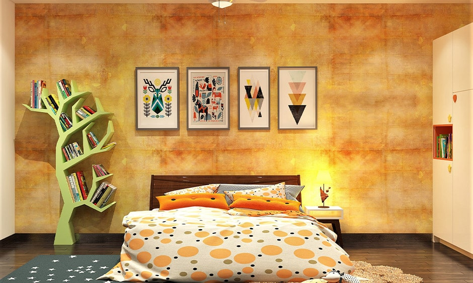 Sunny yellow and cream wall colour combination for small bedroom