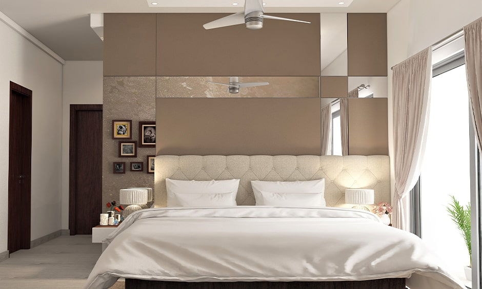 Two colour combination for small bedroom walls with light-brown and white