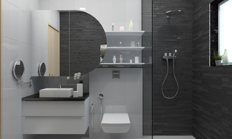 Contemporary bathroom tiles designs in black and white, partitioned with glass makes it outstanding.