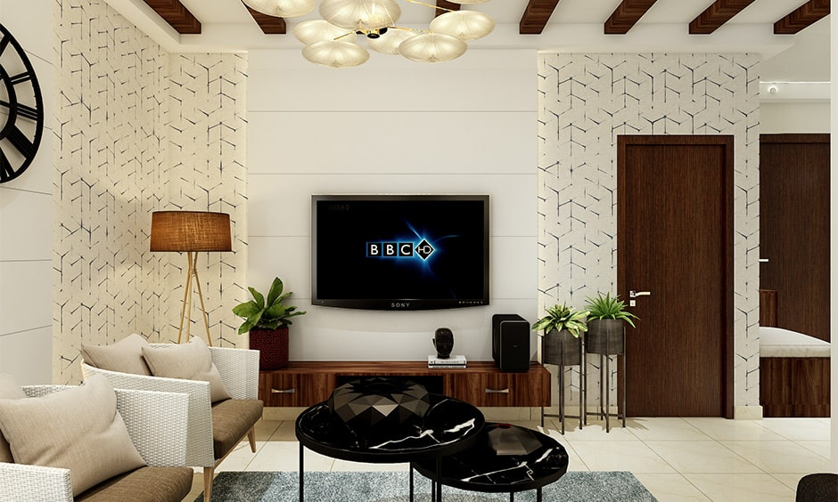 Chic tv panel design for your living room with a sleek and streamlined outline