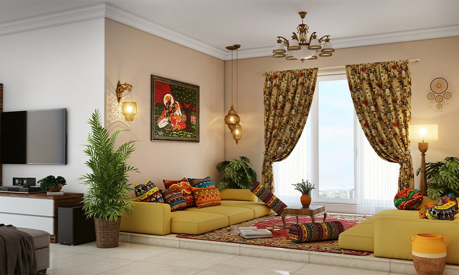 Floor seating arrangement in rajasthani house interior design