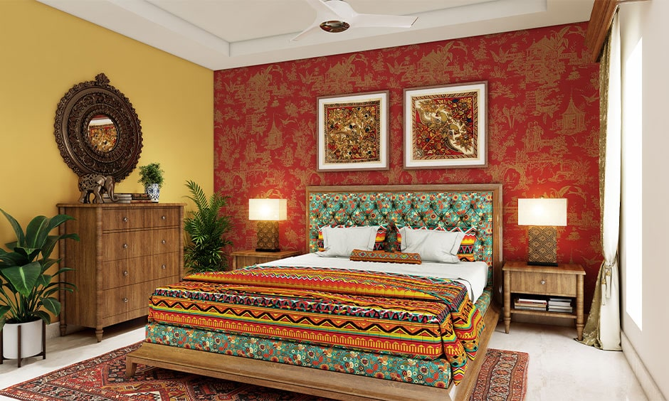 Rajasthan style home decor ideas with traditional wall art, carpets, and handicrafts
