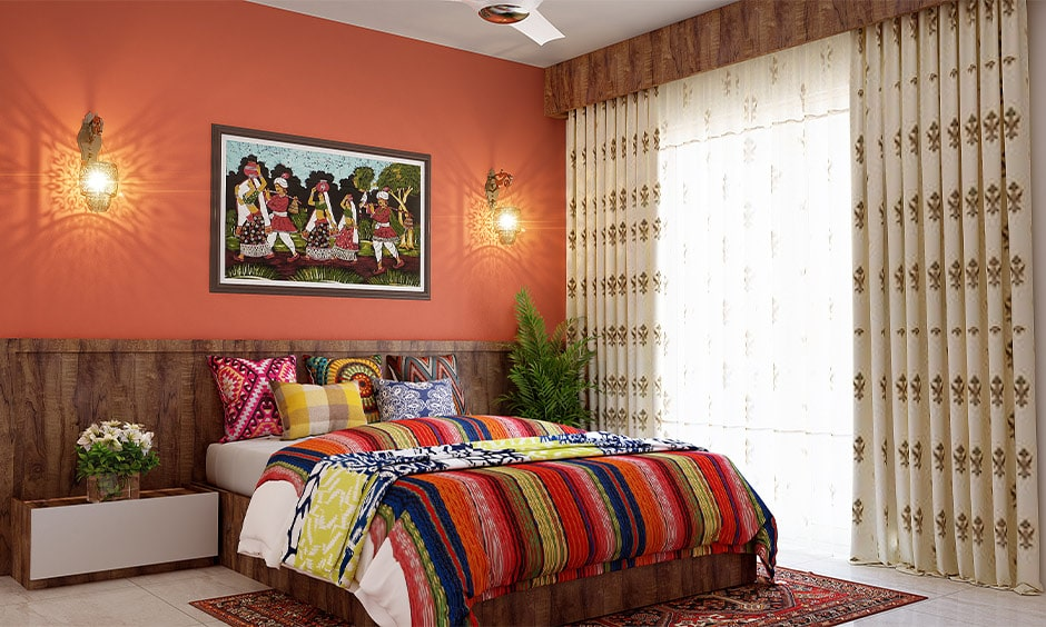 Traditional rajasthani style home interiors with royal colours
